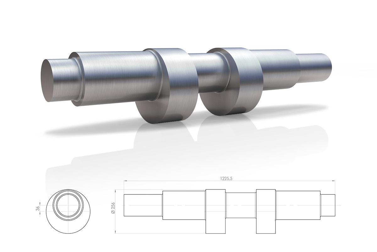Eje excéntrico en acero bonificado para el sector Máquina Herramienta.